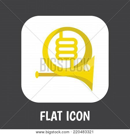 illustration of melody symbol of french horn icon flat. Premium quality isolated element in trendy flat style.