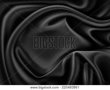 Vector luxury realistic black silk, satin drape textile background. Elegant fabric shiny smooth material with waves. Illustration for celebration, ceremony or event invitation card, symbol of elegance