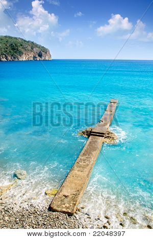 Andratx Camp de Mar in Mallorca Balearic Islands stone pier beach