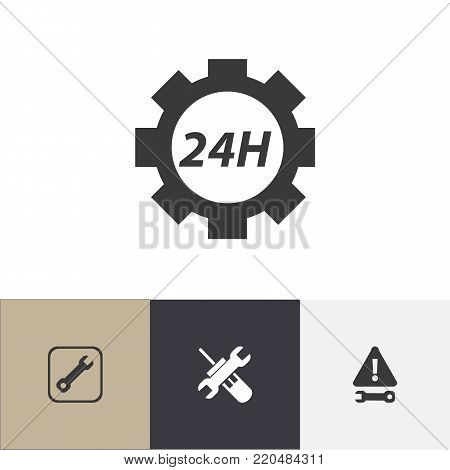 Set of 4 editable mechanic icons. Includes symbols such as reconstruction, utility, support center and more. Can be used for web, mobile, UI and infographic design.