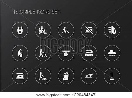Set of 15 editable cleanup icons. Includes symbols such as swob, sweeper, ironing and more. Can be used for web, mobile, UI and infographic design.