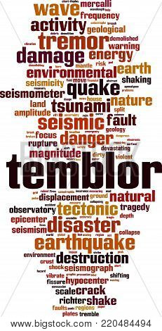 Temblor word cloud concept. Vector illustration on white