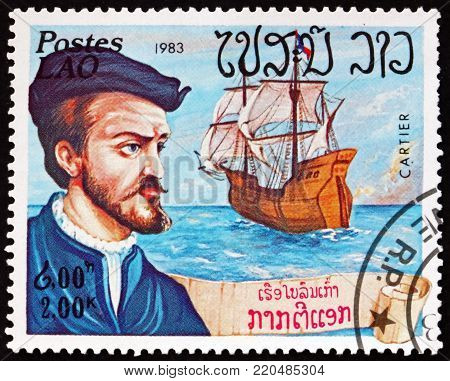LAOS - CIRCA 1983: a stamp printed in Laos shows Jacques Cartier, French navigator and explorer, circa 1983