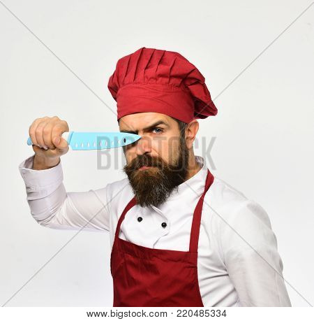 Man With Beard In Cook Uniform Isolated On White Background.