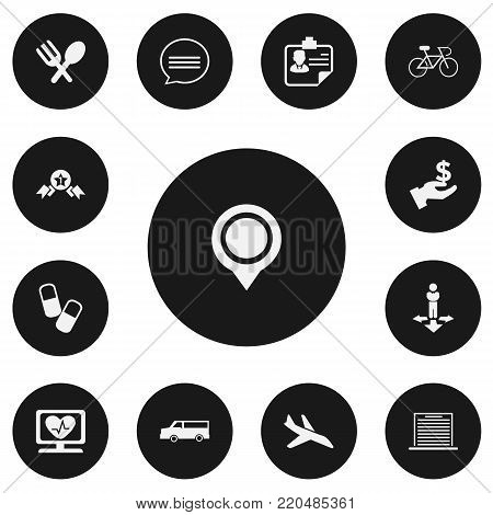 Set of 13 editable complicated icons. Includes symbols such as automotive, pin, cardiogram and more. Can be used for web, mobile, UI and infographic design.