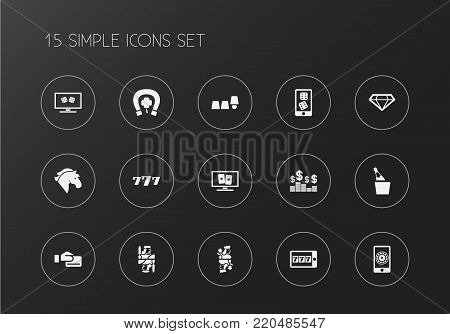 Set of 15 editable excitement icons. Includes symbols such as cards, brilliant, greenback and more. Can be used for web, mobile, UI and infographic design.