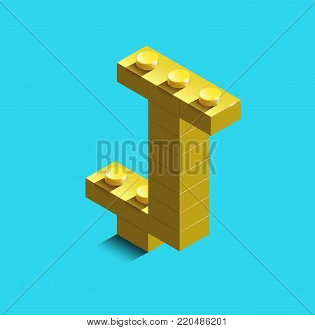 Realistic  gold 3d isometric letter J of the alphabet from constructor bricks. Yellow 3d isometric plastic letter from the building blocks. Colorful character of alphabet letter font. poster