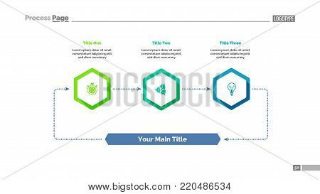 Three Elements Process Chart Slide Template Business Data Cycle Point Design