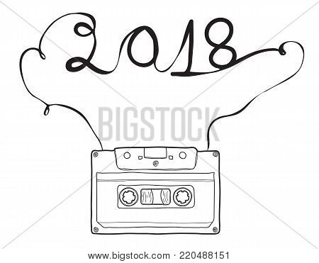 2018 happy new year, Compact Cassette, hand drawn vector , cassette tape, audio cassette with analog magnetic tape  illustration line art