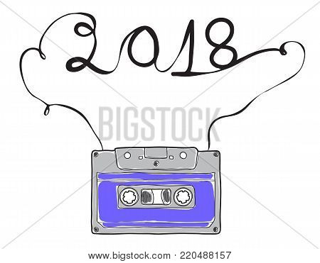 2018 happy new year, purple Compact Cassette, Musicassette  hand drawn vector , cassette tape, audio cassette with analog magnetic tape  illustration line art
