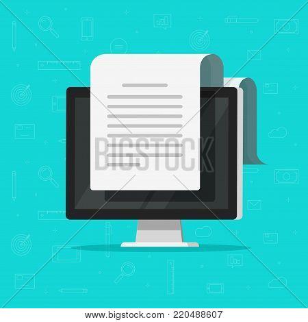 Electronic document on computer vector illustration, flat cartoon long big paper doc on desktop pc display, idea of online documentation, internet office or correspondence