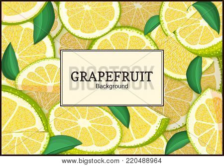Rectangular label on citrus grapefruit background. Vector card illustration. Tropical juicy green pomelo frame peeled piece of half slice for design of food packaging juice breakfast, tea diet juce.