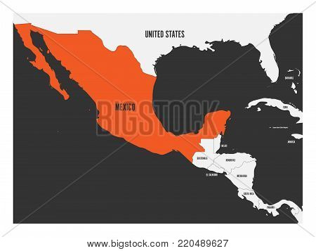 Mexico orange marked in political map of Central America. Simple flat vector illustration.