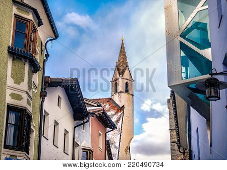 architectural  harmony between new modern architecture and old historic architecture in european town of Vipiteno - Bolzano  - Alto Adige - Italy