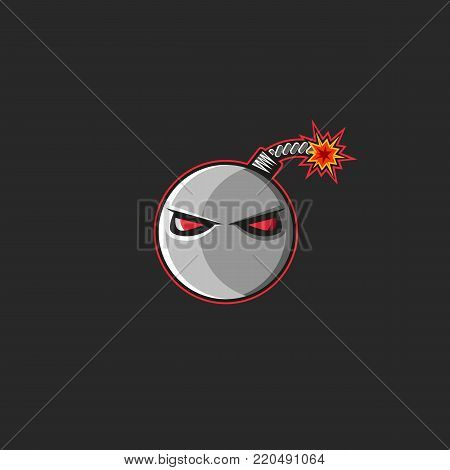 Bomb Logo, Set Fire To The Cannonball Fuse With Red Evil Eyes. T-shirt Print Emblem Design Element T