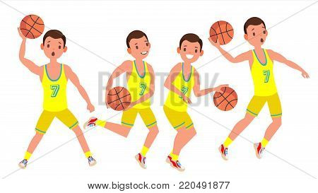 Professional Basketball Player Vector. Yellow Uniform. Playing With A Ball. Healthy Lifestyle. Team Action Stickers.Isolated On White Cartoon Character Illustration