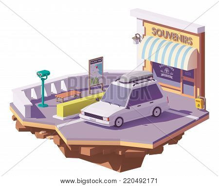 Vector low poly station wagon car with roof rack cargo box near the roadside viewpoint and souvenir shop