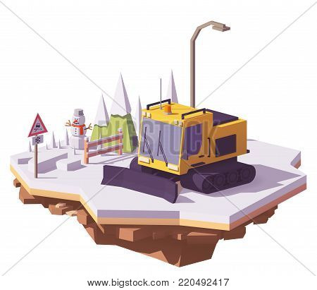 Vector low poly snowcat or snow groomer prepares the ski slope at the ski resort