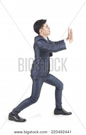 Asian Businessman Standing On White Background With Problem. People Business Concept, Isolated On Wh