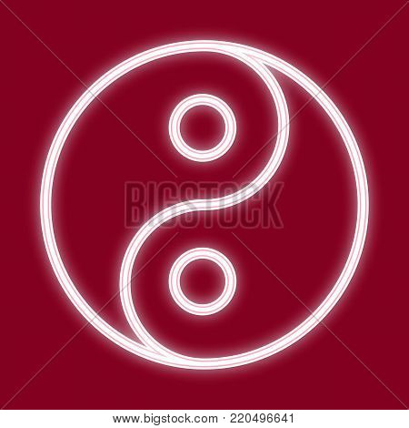 The Image Of Yin And Yang. Icon With The Effect Of Neon Glow. The Symbol Of The Chinese New Year. Ve