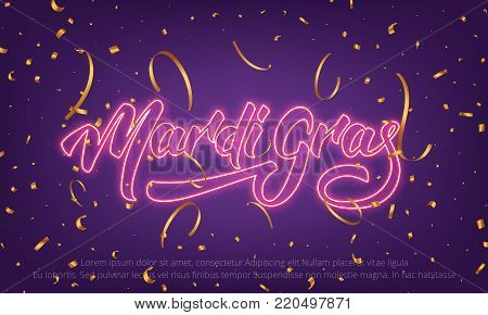 Mardi Gras. Background with Mardi Gras neon lettering and gold confetti.