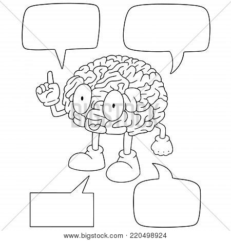 vector set of brain cartoon hand drawn cartoon