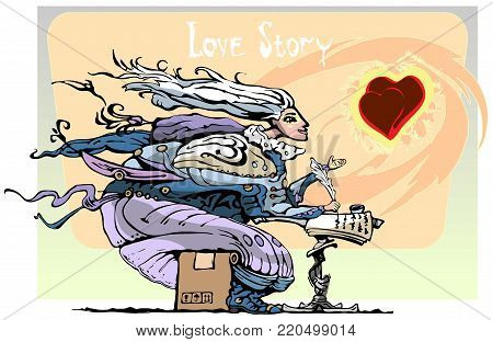 Valentines day heart love holiday writer, author, illustration, vector, isolated love story