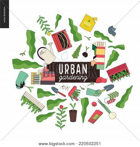 Urban farming and gardening collage with gardening tools, wooden seedbeds, greens and houses.
