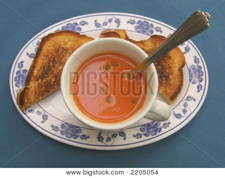 Tomata Soup With Jalapeno Sauce And Toast With Path