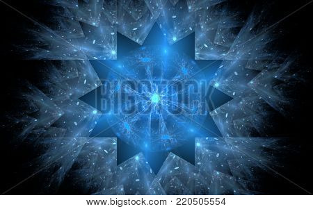 abstract magical symbol in the form of a frosty snowflake of blue hues with a luminous center and clots of energy on a black background.