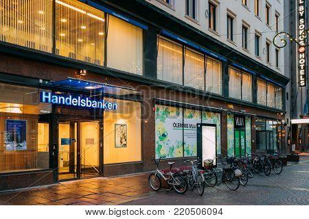 Helsinki, Finland - December 8, 2016: Svenska Handelsbanken AB On Kluuvikatu Street Is Swedish Bank Providing Universal Banking Services, One Of Major Banks In Sweden