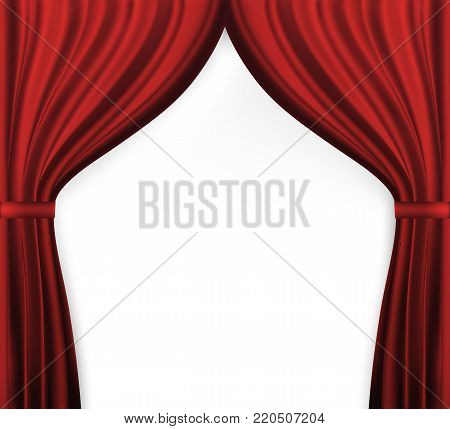 Naturalistic image of Curtain, open curtains red color. Vector Illustration. EPS10