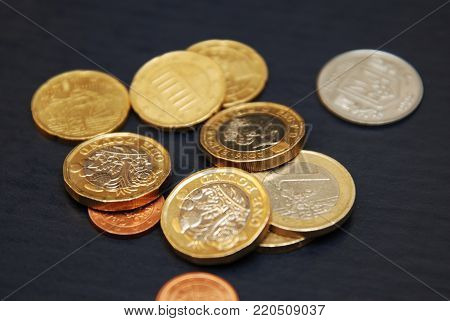 British one sterling pound and Euro Coin