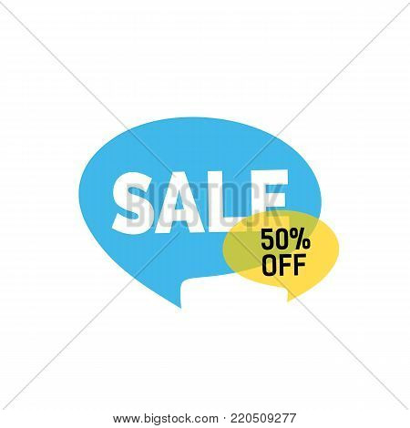 Sale fifty percent off lettering on blue speech bubble. Inscription can be used for leaflets, posters, banners.