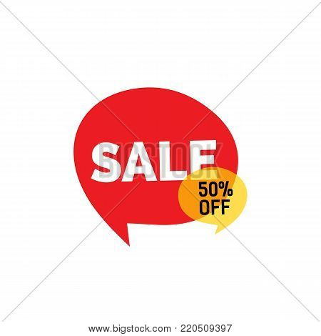 Sale fifty percent off lettering on red speech bubble. Inscription can be used for leaflets, posters, banners