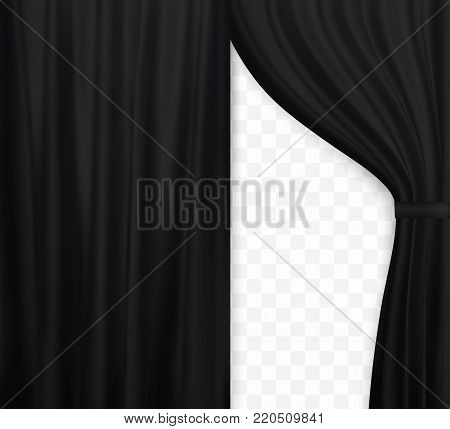 Naturalistic image of Curtain, open curtains Black color on transparent background. Vector Illustration. EPS10
