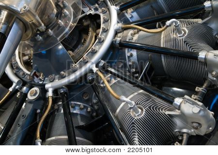 Close-up on the engine of an old Curtiss HS-2L airplane poster