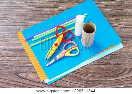 Glue, Scissors And Paper On A Wooden Table. Children's Art Project Craft For Kids. Craft For Childre