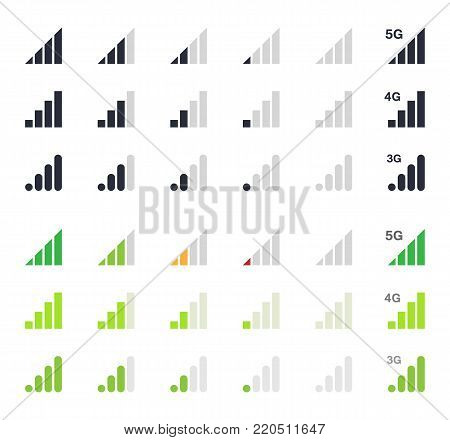 mobile signal icons, signal strength indicator signs