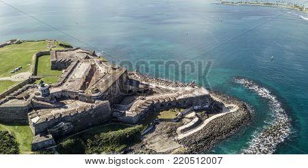 Aerial panorama of El Morro fort and San Juan, Puerto Rico.