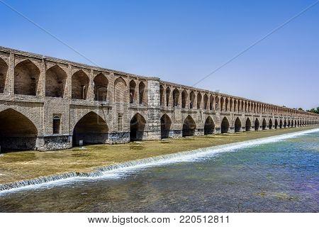 The Allahverdi Khan Bridge popularly known as Si-o-se-pol over Zayanderud river in Isfahan Iran