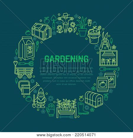Gardening, planting and horticulture banner with vector line icon. Garden equipment, organic seeds, greenhouse, pruners watering can and other tools. Vegetables, flower cultivation thin linear poster.