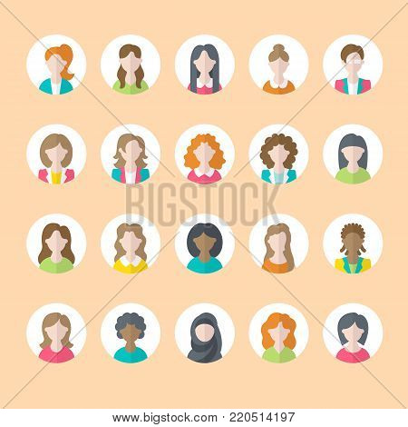 People flat icons, business woman avatars. Symbols of female professions, secretary, manager, teacher, student. Young girls signs