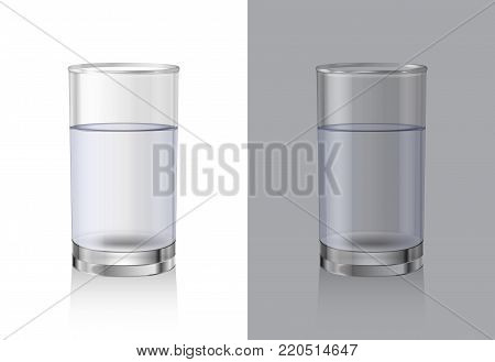 Glasses for drinks on white and gray background. Glassware Set. Realistic vector glass of crystal clean water.