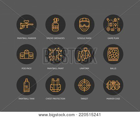 Paintball game line icons. Outdoor sport equipment, paint ball marker, uniform, mask, chest protection. Extreme leisure thin outline signs on darl background.
