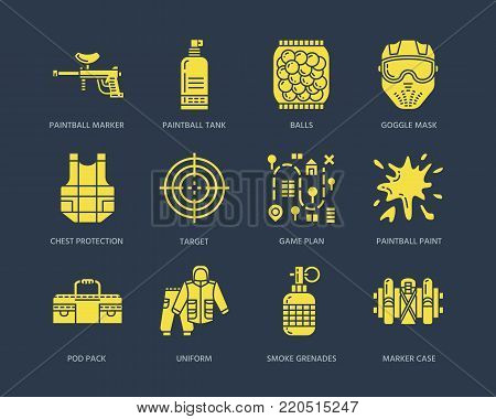 Paintball game line icons. Extreme leisure equipment, paint ball marker, uniform, mask, chest protection. Outdoor sport glyph signs on dark background.