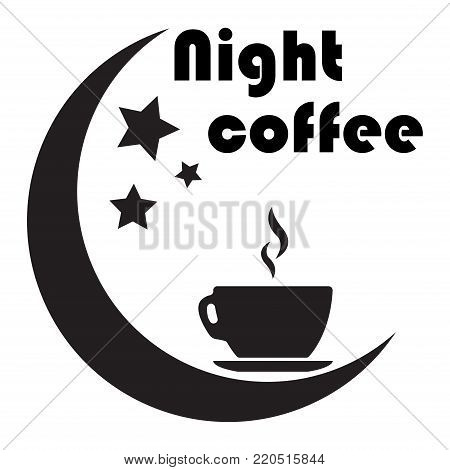 Close up of coffee cup With the moon and the stars on white background. concept-night coffee. Work late. fatigue. Vector ilustration.Eps 10.
