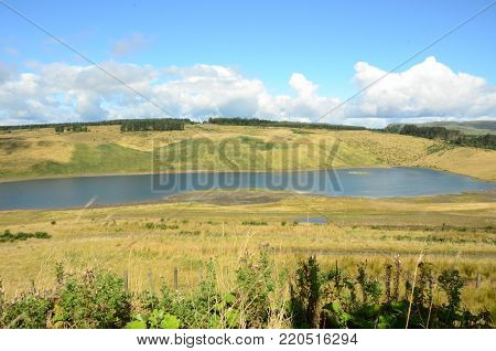 The abandoned land restoration project following an opencast mine at Kelty in Fife