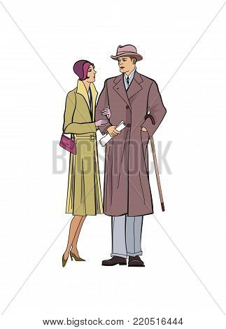 Couple outdoor. Man and woman in outerwear dress in vintage style 1920's. Portrait of an attractive flapper girl with her boyfriend. Retro fashion  illustration isolated on white background.