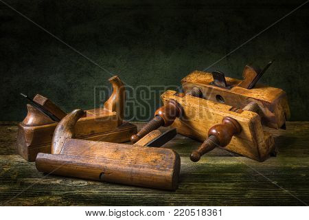 Still life with carpentry tools, bench planes of the joiner,